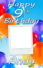 PERSONALISED BIRTHDAY DOOR BANNER WITH PHOTO- ANY AGE/NAME -MULTI BLUE