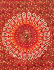 Red Color Peacock Mandala Cotton Wonderful Design Tapestry Poster Table Cover