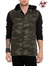 RUDE BY LIP SERVICE HOODIE CAMO JACKET GOTHIC PUNK SKATE EMO ARMY JACKET COAT S