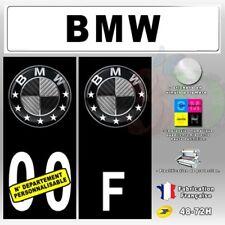 4X Stickers Plaques Bmw Logo Carbon Auto Fond Noir