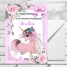 Personalised Girls Unicorn Birthday Card 1st 2nd 3rd 4th Granddaughter, Daughter