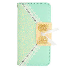 Green Lace Pattern Wallet Case Cover For LG Ultimate 2 L41C Straight Talk Phone