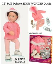 "18"" Doll Deluxe Winter Pink SNOW SUIT+SNOWSHOES SET Our Generation American Girl"