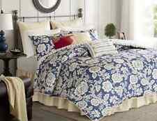 Navy Cotton Twill Bedding 9-PC KING Size Comforter Set w Shams Pillows Bedskirt