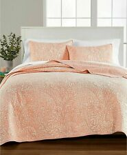 Martha Stewart Collection Botanical Floral FULL/QUEEN Quilt Cotton Coral $200