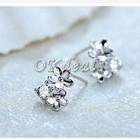 Womens 925 Sterling Silver Plated Flower Crystal Rhinestone Ear Stud Earrings