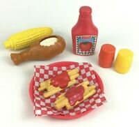 Fisher Price Fun with Food BBQ Toy Fried Chicken Corn Fries Ketchup 9pc Lot A11