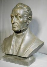 Vintage Modern 3/4 Life Size Male Bronze Bust Simon Bolivar Santiago Poletto