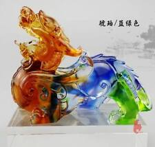 Liuli Pixiu arts, Color crystal mythical animal Mascot crafts, Fengshui crafts