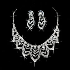 Mariage nuptiale strass cristal Collier Choker Bib Necklace Earring Jewelry Set