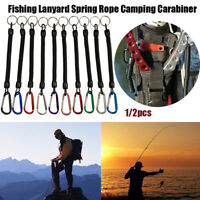 Fishing Lanyards Camping Carabiner Anti-lost Phone Keychain Spring Elastic Rope