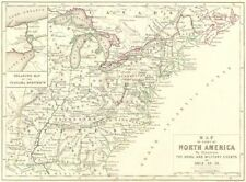 NORTH AMERICA. Map of. Naval & Military events. Napoleonic Wars 1848 old