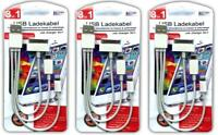 3x Ladekabel 3in1 micro USB l iPhone 4/5/6 | Samsung S6 S5 S4 S3 HTC LG SONY