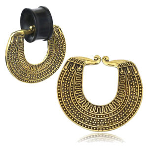 Ear Weight Pendant For Tunnel Piercing Earring Brass Gold Charm Ethno CE19