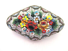 Vintage Micro Mosaic Floral Brooch Pin Raised Stones Large Oblong