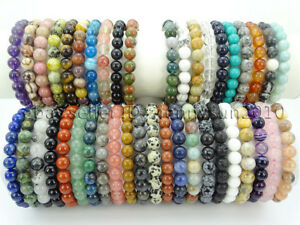 Handmade 8mm Adjustable Mixed Natural Gemstone Round Bead Bracelet Reiki Chakra