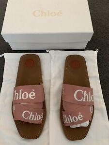 Chloe Woody Slide Sandals Sz42 Pink