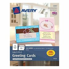 Half Fold Greeting Cards Avery White Matte 20 Pack for Inkjet Printers New Paper
