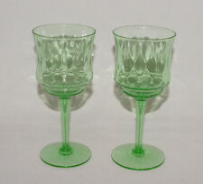 "IMMACULATE PAIR Vintage Green ""DIAMOND OPTIC"" 3 Oz. WINE GOBLETS!"