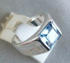 Echtschmuck-Ringe im Solitär-Stil mit Aquamarin-Hauptstein für Damen