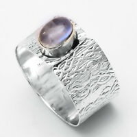 Rainbow Moonstone Solid 925 Sterling Silver Band Ring statement ring Size. 10