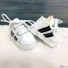 Yo SD bjd Doll Shoes White Running Sneaker Black Stripe SHU082WBK (Foot 4.5cm)
