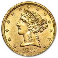 $5 Liberty Gold Half Eagle AU (Random Year) - SKU #1124