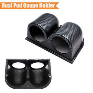 Car Interior 52mm Dual Hole Dashboard Gauge Pod Mount Holder Carbon Fiber Look