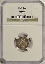 1907 10C Barber Dime NGC MS63