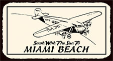 (VMA-G-1075) South To Miami Beach Retro Vintage Aviation Airplane Retro Tin Sign