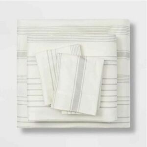 Theshold Flannel Sheet Set- Gray Stripe KING - 100% Cotton - NEW