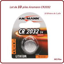 Lot de 10 piles boutons CR2032 lithium Ansmann, livraison rapide et gratuite