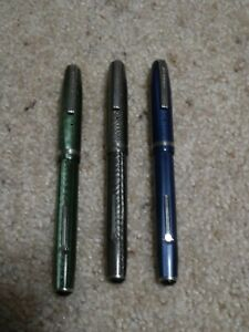 3 Vintage Esterbrook Fountain Pen Lot Silver Blue and Grey