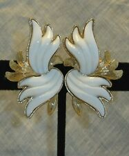 """Vintage Monet White Thermoset Lucite Clip Earrings 1 7/8"""""""