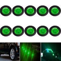 "10X Mini 12V Green 3/4"" Round Side LED Marker Car Trailer Bullet Clearance Lamp"