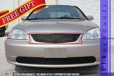 GTG 2001 - 2002 Honda Civic 4dr 1PC Gloss Black Upper Replacement Billet Grille