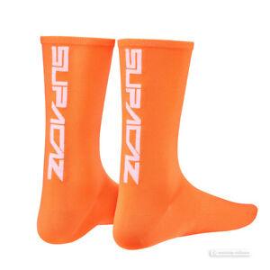 Supacaz SupaSox STRAIGHT UP Tall Cycling Socks NEON ORANGE - One Pair