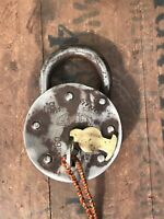 Vintage Large Indian Steel Padlock With Key Working Golden Brass Escutcheon