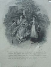 ANTIQUE PRINT C1800'S A FIRST JOURNEY MINIATURE ENGRAVING LADIES WALKING COSTUME