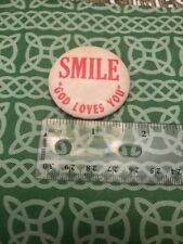 Rare Old Smile God Loves You Fargo Rubber Stamp Works Pinback FREE SHIPPING