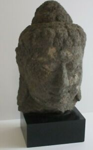 ANTIQUE LIFE SIZE BUDDHA HEAD FROM TEMPLE ICONIC LAVA ROCK CARVING RELIC OLD