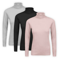 Womens Ladies Stretch Cotton Ribbed Jumper Turtle High Roll Polo Neck Rib Top
