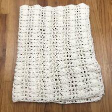 White Handmade Crochet Small Blanket Scalloped Square AG