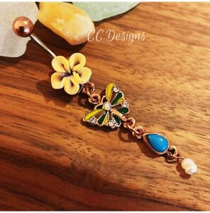 14g Copper Yellow Flower Butterfly Blue Droplet Dangle Belly Button Ring (#236)
