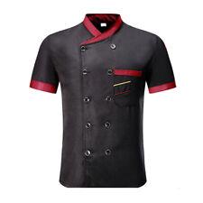Unisex Chef Coat Double-Breast Short Sleeve Cook Jacket Kitchen Dress Uniform