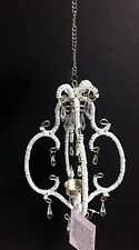 NEW HAND MADE SILVER +WHITE BEADS,GEM,HANGING LANTERN TEALIGHT CANDLE HOLDER