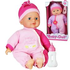 12'' Baby Doll New Born Soft Bodied Doll With Bottle Girls Pretend Play Toy