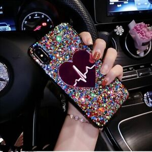 3D Heart Heartbeat Glitter Sequin Phone Case For iPhone 12 11 Pro Max X XS XR SE