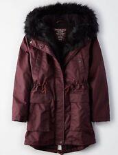 American Eagle AE  Lined Faux Fur Hood Parka Jacket Coat NEW XXS