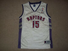 Vintage Champion Vince Carter Toronto Raptors #15 White Youth Boy M 10-12 Jersey